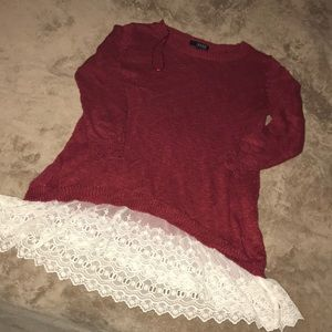 Red knit & lace sweater